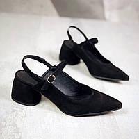 Замшевые туфли с открытой пяткой 36-40 р чёрный, фото 1