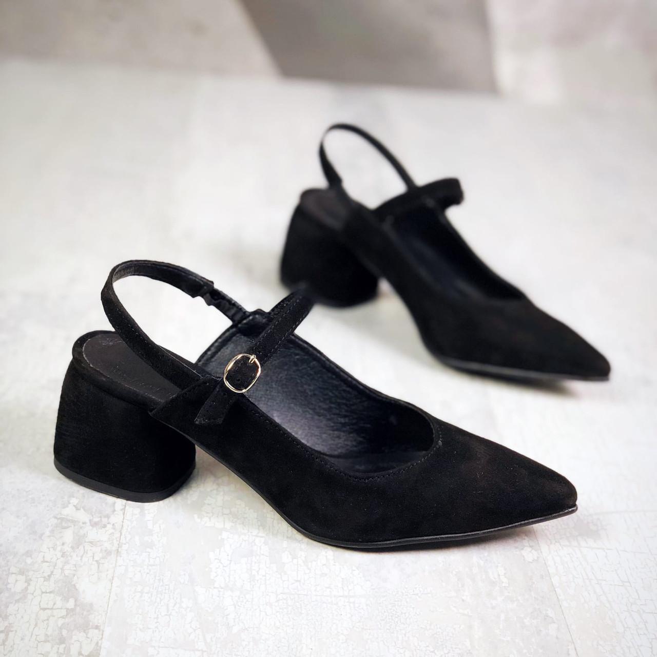 Замшевые туфли с открытой пяткой 36-40 р чёрный