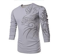 Свитер, свитшот мужской с принтом на плече M, L, XL, XXL серый