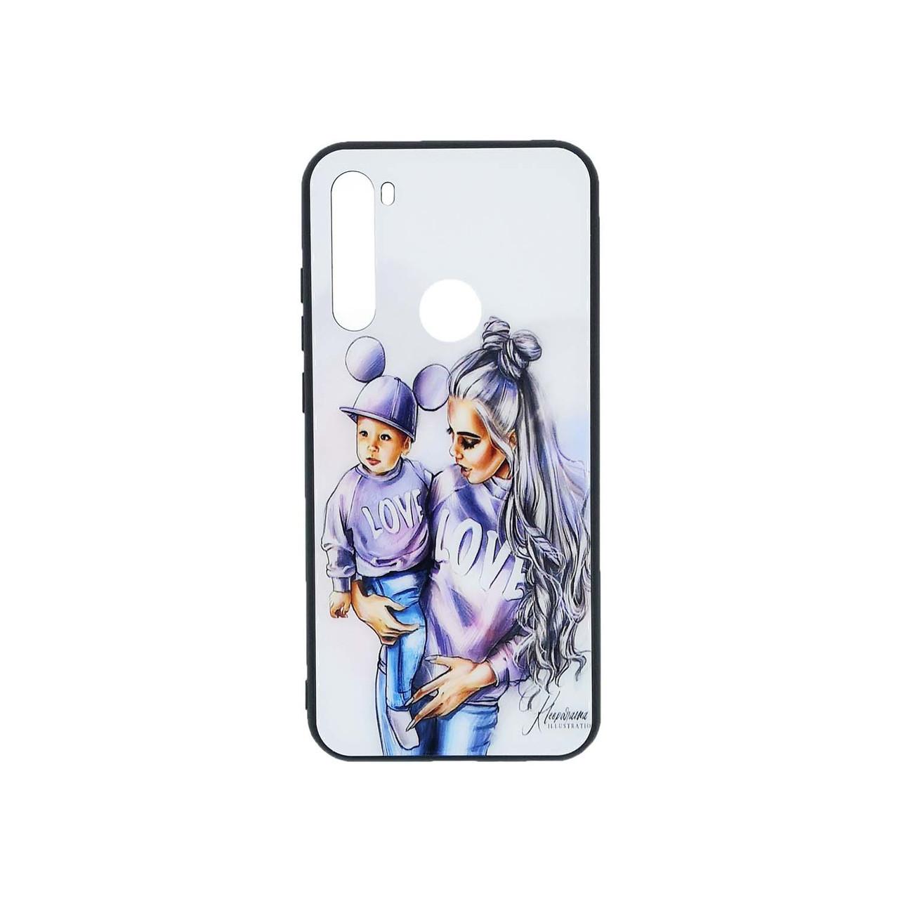 Женский чехол для Xiaomi Redmi Note 8t силиконовый с зеркальной крышкой Girl Case, Mickey Family