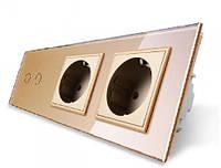 Сенсорный выключатель на две линии с двумя розетками Livolo, цвет золотой, стекло VL-C702/C7C2EU-13