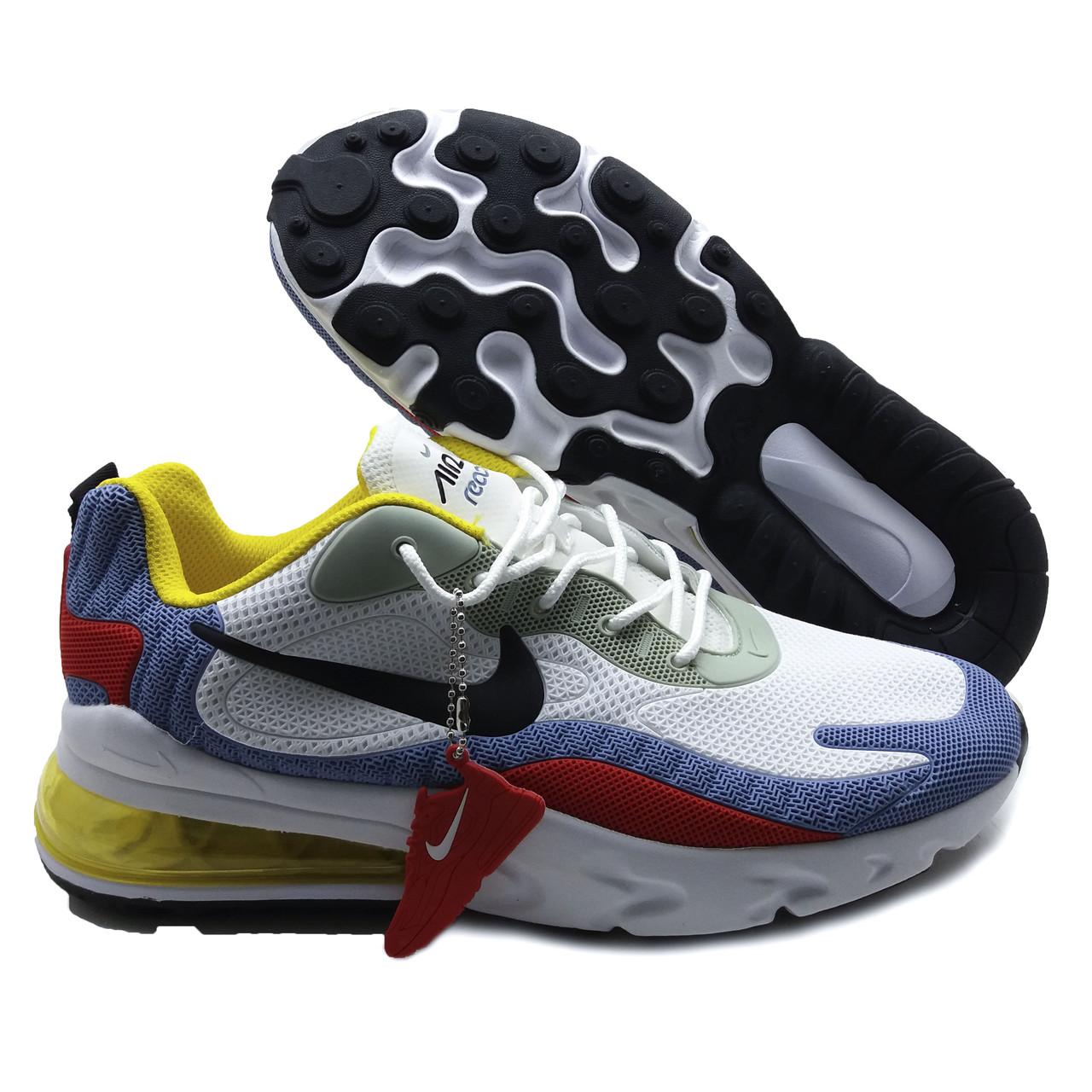 Кроссовки мужские похожие на Nike Air Max 270 React Бело-сине-красные