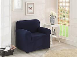 Натяжной чехол на кресло без оборки Синий джинсовый