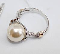 Серебряное колечко с жемчугом Кувшинка, фото 1