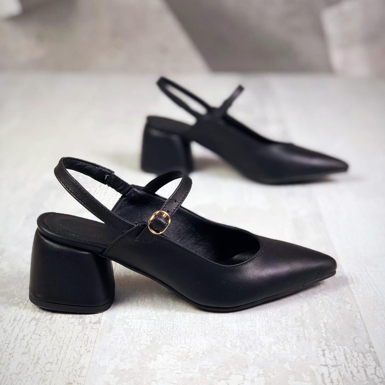 Кожаные туфли с открытой пяткой 36-40 р чёрный