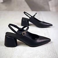 Кожаные туфли с открытой пяткой 36-40 р чёрный, фото 1