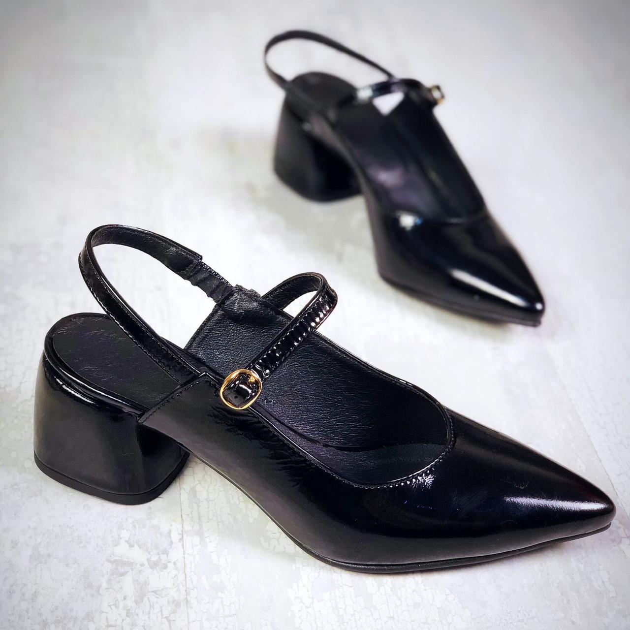 Кожаные лаковые туфли с открытой пяткой 36-40 р чёрный