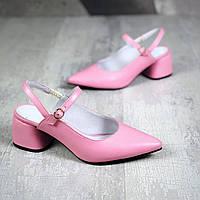 Кожаные туфли с открытой пяткой 36-40 р нежно розовый, фото 1