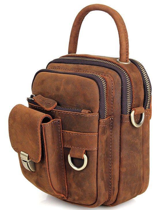 Сумка мужская Vintage 14416 в винтажном стиле Коричневая