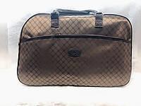 Женская коричневая дорожная сумка-саквояж текстильная