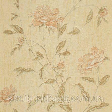 Обои бумажные акриловые (пенообои) а  0,53*10,05 цветы Слобожанские бежевый