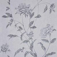 Обои бумажные акриловые (пенообои) а  0,53*10,05 цветы Слобожанские серые