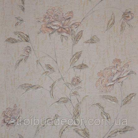 Обои бумажные акриловые (пенообои) а  0,53*10,05 цветы Слобожанские