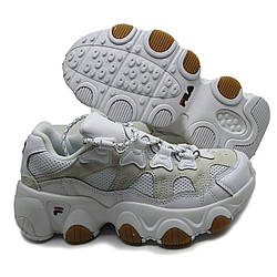 Женские кроссовки на высокой подошве белые в стиле Fila Jagger