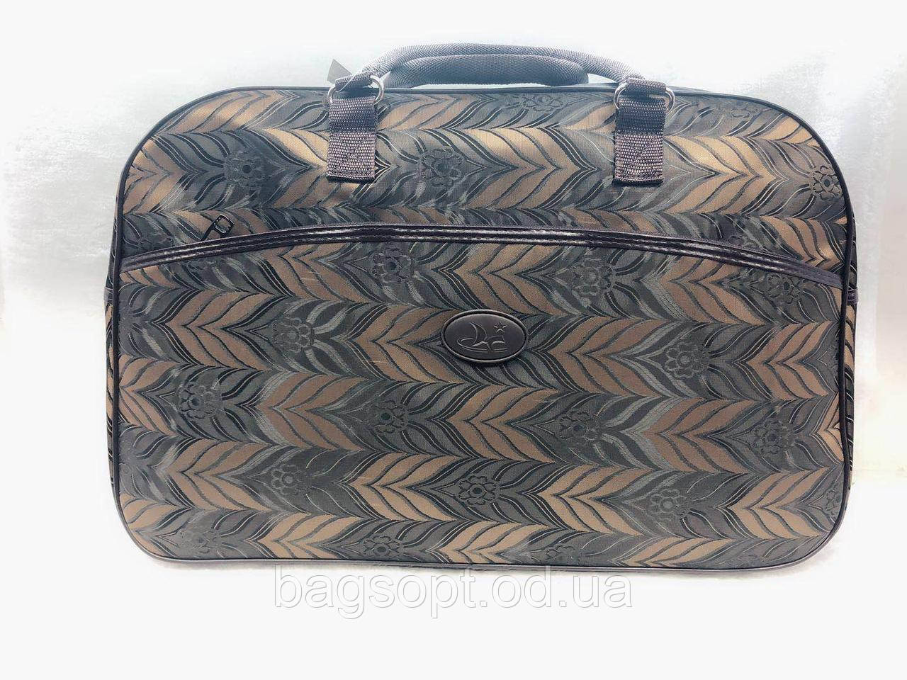 Сумка-саквояж текстильная дорожная женская коричневая