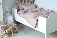 Комплект детского постельного белья в кроватку с бантиками, пыльная роза