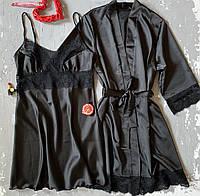 Шелковый комплект пеньюар и халат черный