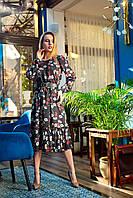 Женское, офисное,элегантное платье, ткань Шелк Армани, размеры 42,44,46,48 (1235.1) черный.сукня