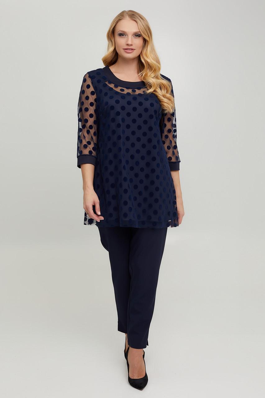 Нарядна жіноча блуза з трикотажу та сітки з горохом