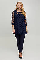 Нарядна жіноча блуза з трикотажу та сітки з горохом, фото 1