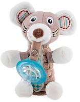 Мягкая игрушка Nuby Мышка с держателем для пустышки