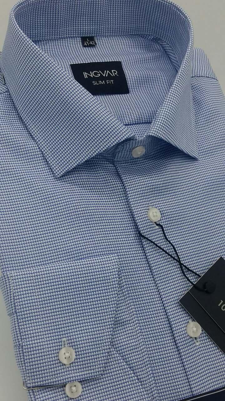 Рубашка мужская голубой жаккард  ТМ INGVAR