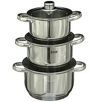Набор кастрюль Benson BN-205 (6 предметов) Нерж. Сталь-2,1л   2,9л  3,9л