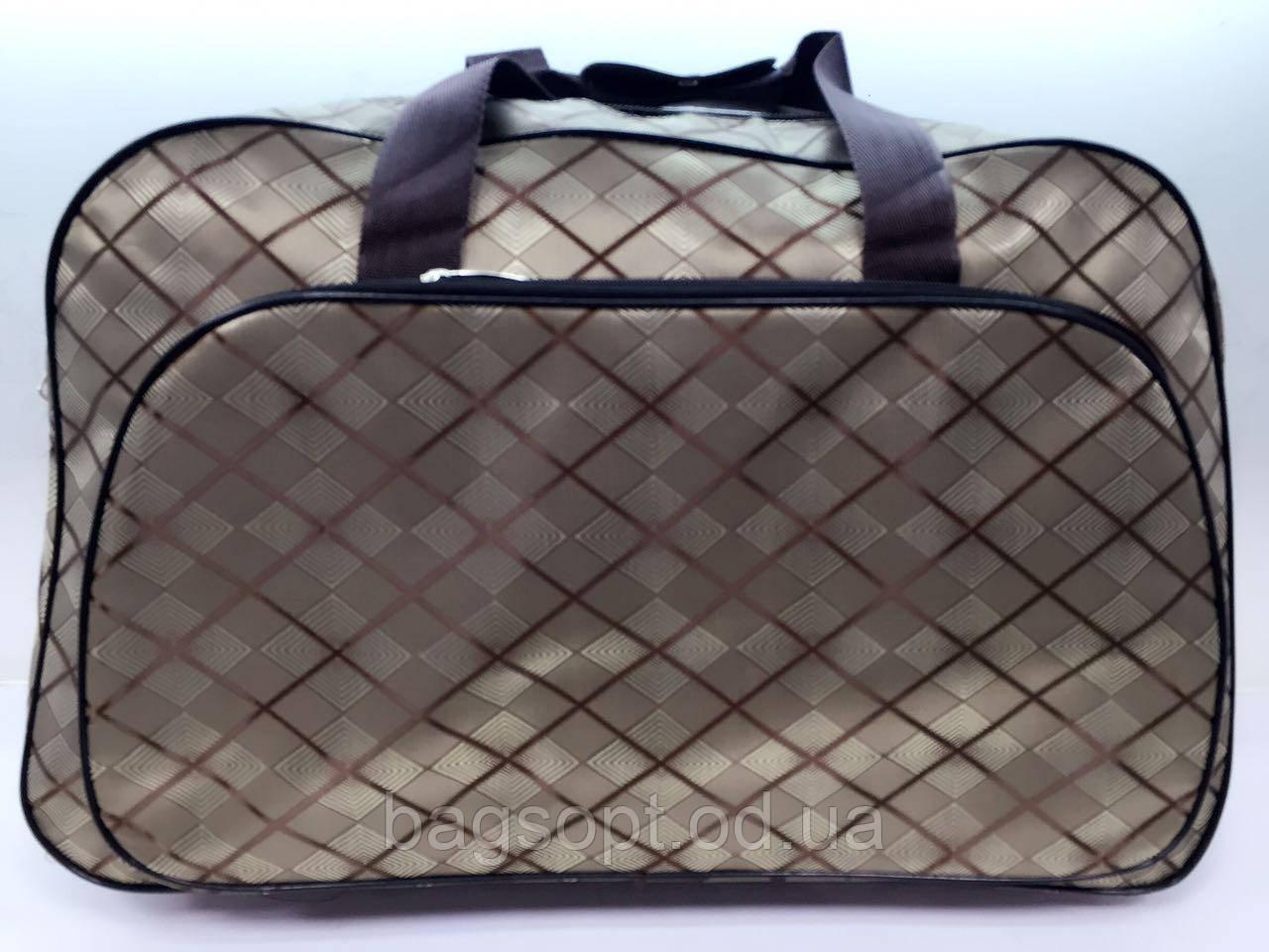 Женская дорожная сумка-саквояж текстильная коричневая для путешествий