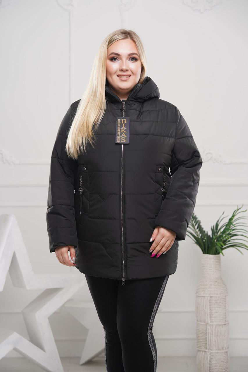 Куртки батал женские весна-осен 50-64 черный