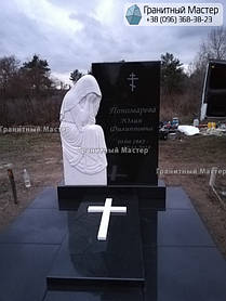 Памятник из гранита и мрамора женщине со скульптурой Плакальщицы. Киев, с. Щасливое 1