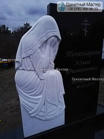 Памятник из гранита и мрамора женщине со скульптурой Плакальщицы. Киев, с. Щасливое 4
