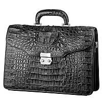 Портфель CROCODILE LEATHER 18048 из натуральной кожи крокодила Черный, фото 1