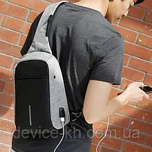 Рюкзак Через Плече міської Bobby anti theft протикрадій з USB Grey