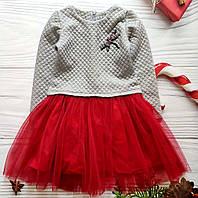 Стильное теплое платье с фатином для девочки 98,122р