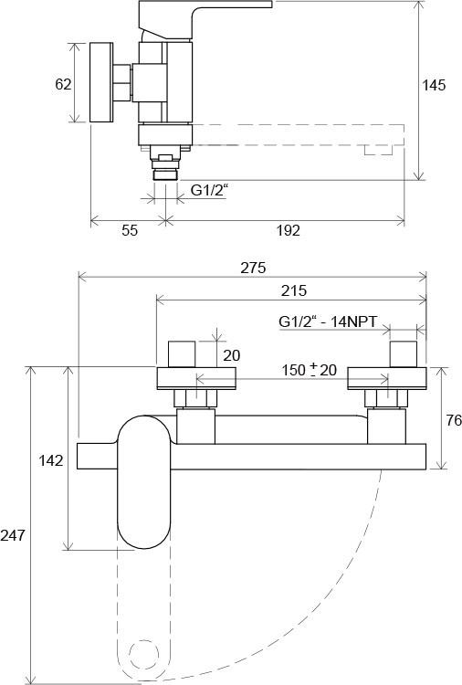 Змішувач для ванни настінний Chrome 150 мм