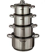 Набор кастрюль Benson BN-206  (8 предметов) Нерж. Сталь- 2.1л, 2.9л, 3.9 л, 6.5л