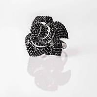 Серебряное стильное кольцо Роза с кубическим цирконием