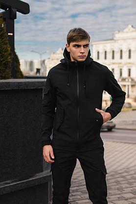 Чоловічий костюм Softshell чорний демісезонний Intruder. Куртка чоловіча, штани утеплені, фото 3