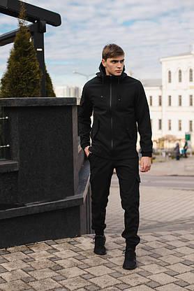Чоловічий костюм Softshell чорний демісезонний Intruder. Куртка чоловіча, штани утеплені, фото 2