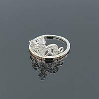 """Серебряное кольцо """"Корона"""" с золотом, фото 1"""