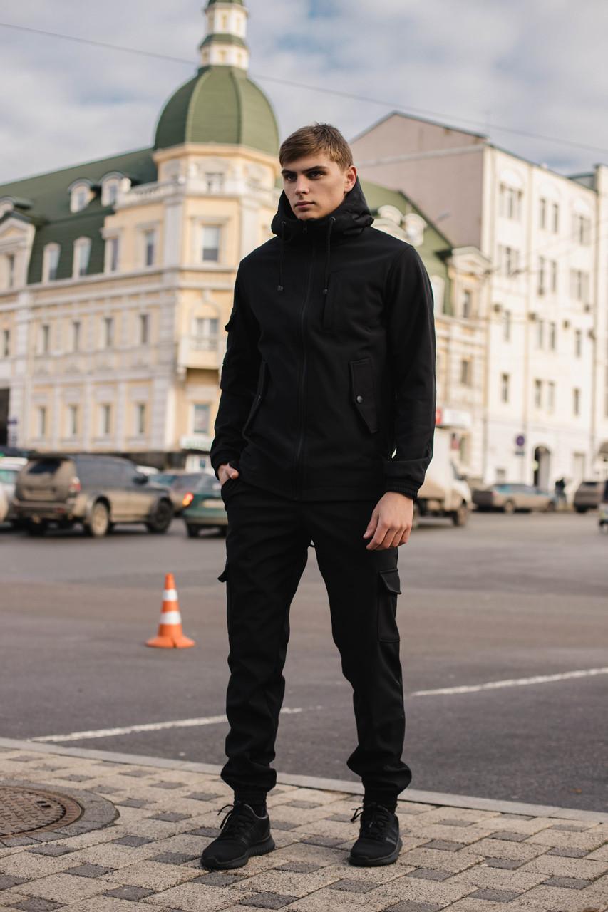 Чоловічий костюм Softshell чорний демісезонний Intruder. Куртка чоловіча, штани утеплені