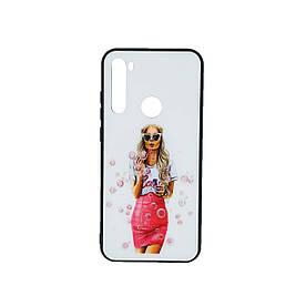 Стильный чехол на Xiaomi Redmi Note 8T со стеклянной поверхностью Girl Case, Девушка с мыльными пузырями