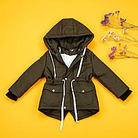 Демисезонная куртка-парка цвет хаки для мальчика 80-134 р