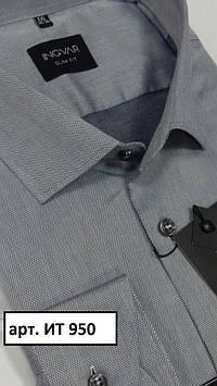 Рубашка мужская серый жаккард  ТМ INGVAR