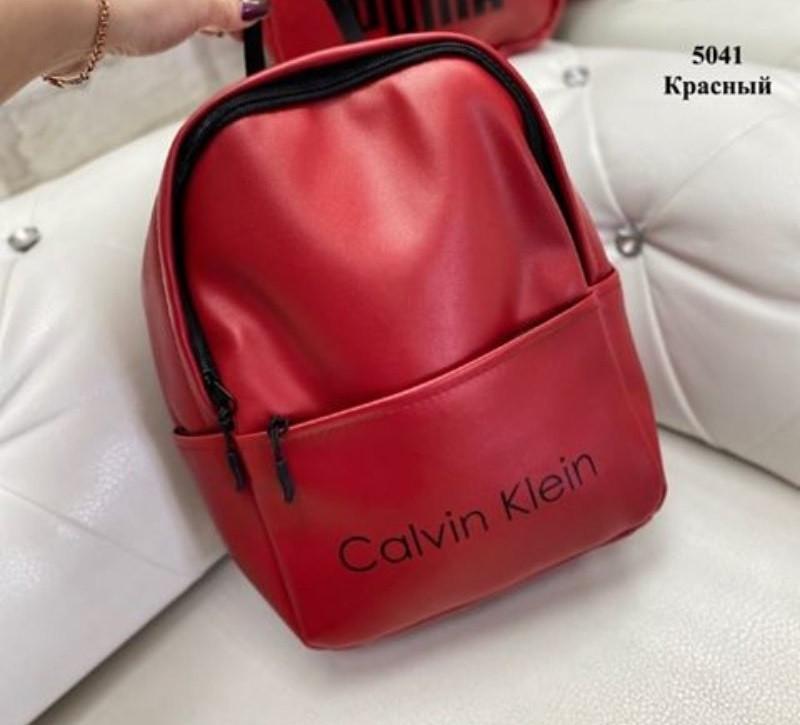 Женский рюкзак  кожзам Calvin Klein и Puma. Красный
