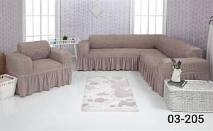 Чехол на угловой диван и кресло с оборкой, натяжной, жатка-креш, универсальный Concordia 03-200