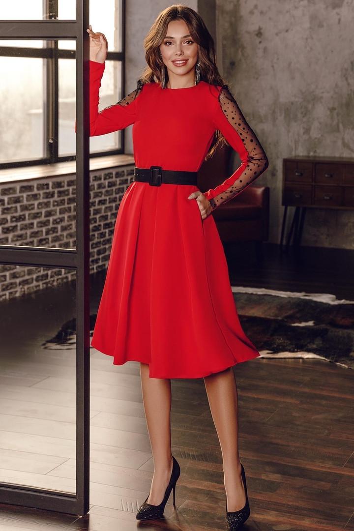 Женское платье с бархатным поясом Красный