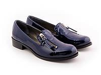 Синие лаковые туфли со змейкой