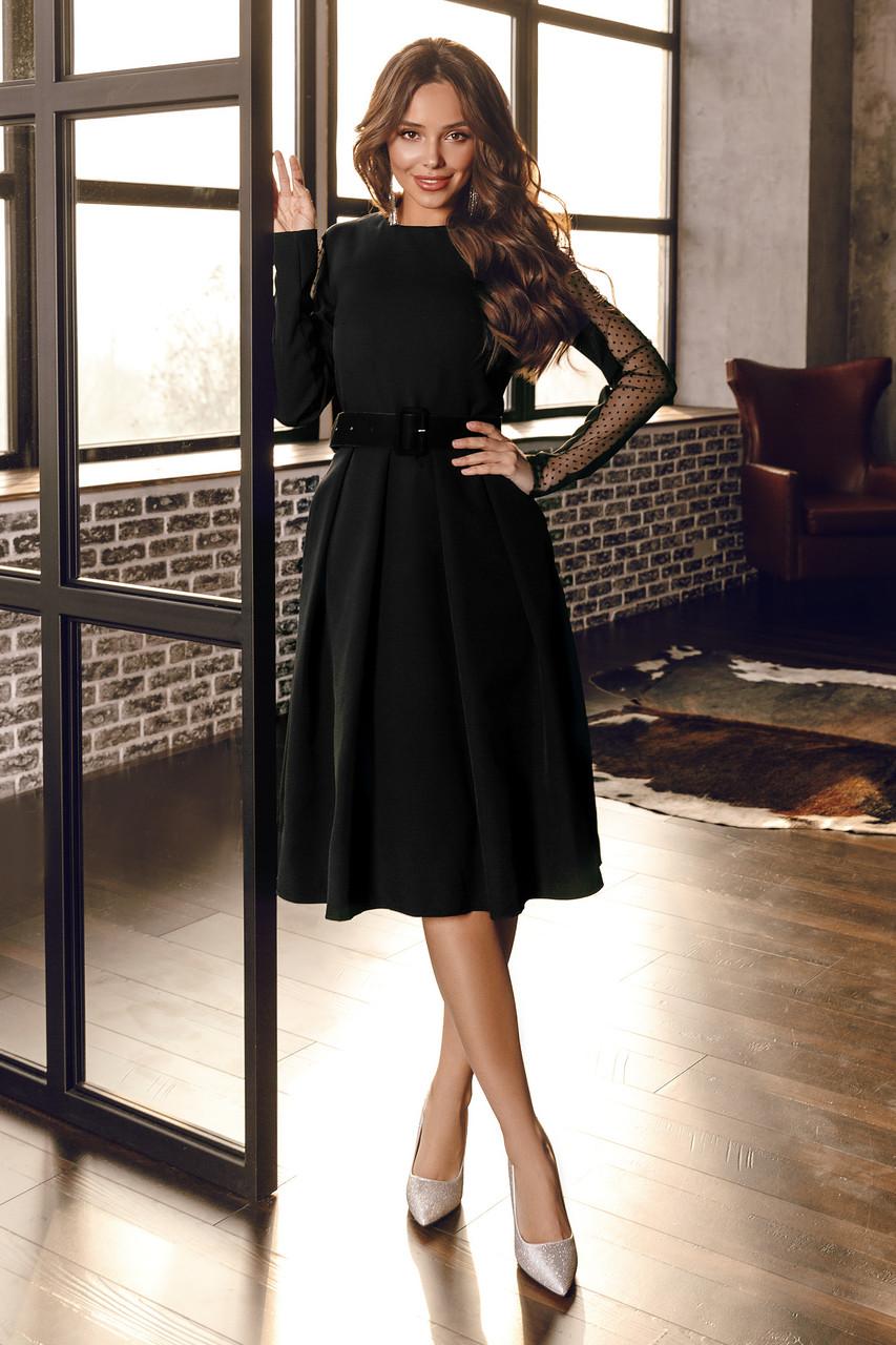 Женское платье с бархатным поясом Черный