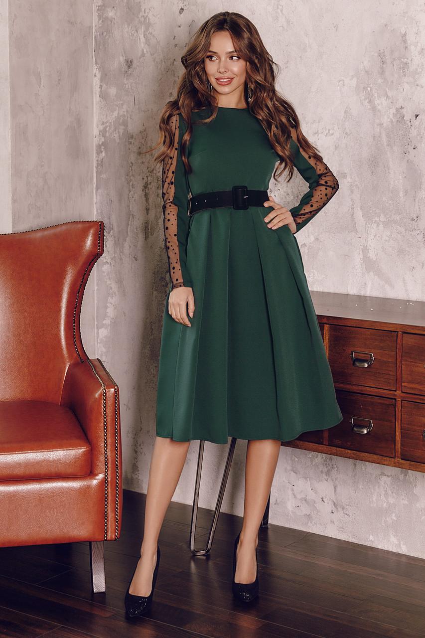 Женское платье с бархатным поясом Изумрудный